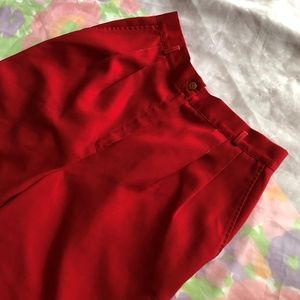 VTG 80s PLEATED RED HIGH WAISTED TROUSERS